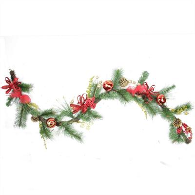 6 ft. Unlit Grapevine and Pine with Red Ball Ornaments Artificial Christmas Garland