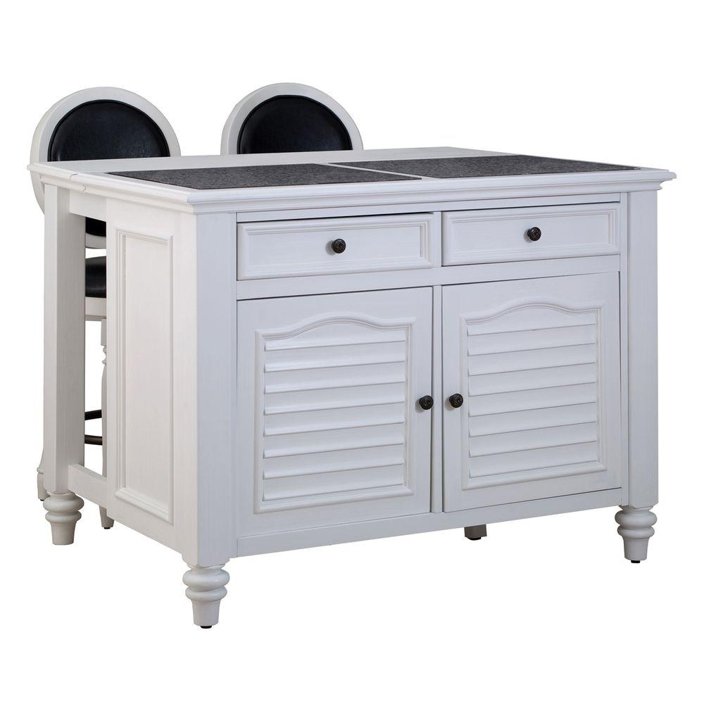 Home Styles Wood Kitchen Island in White Finish with 2 Stool