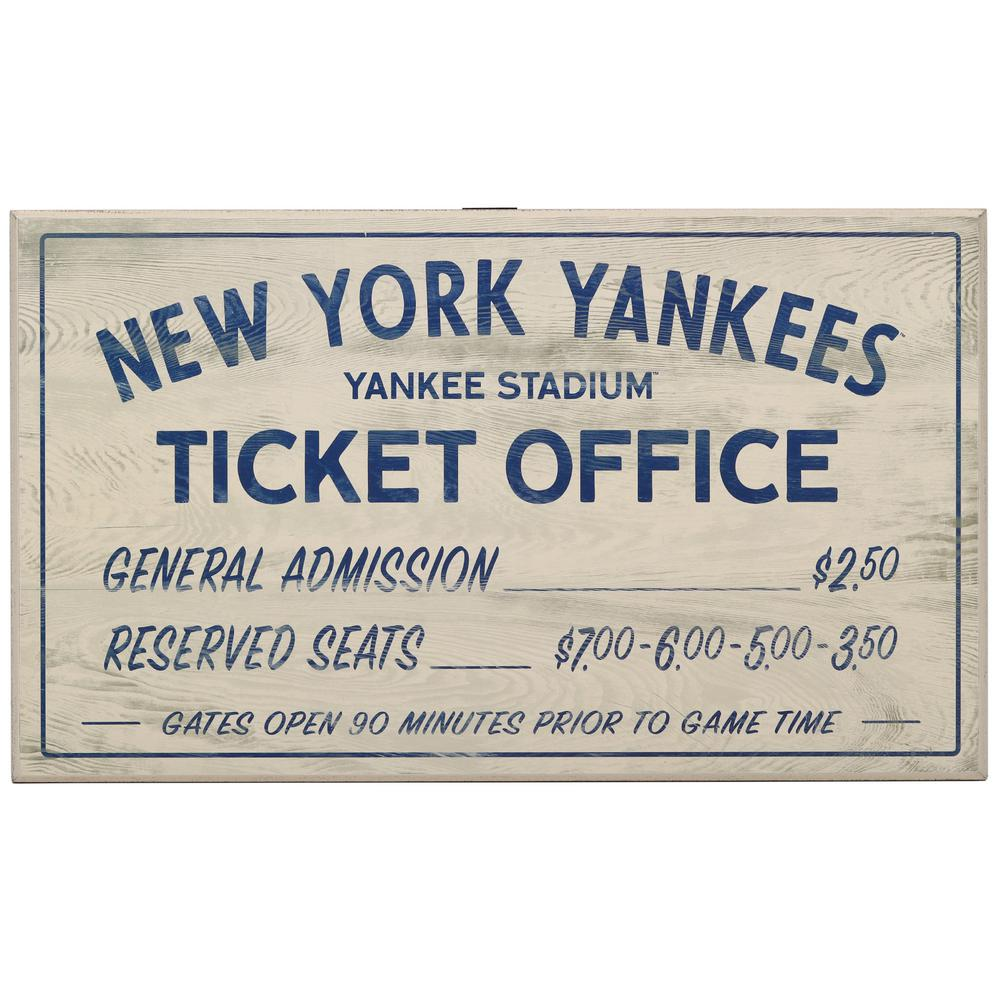 Open Road Brands New York Yankees Vintage Ticket Office Wood Wall Decor 90183446 S The Home Depot