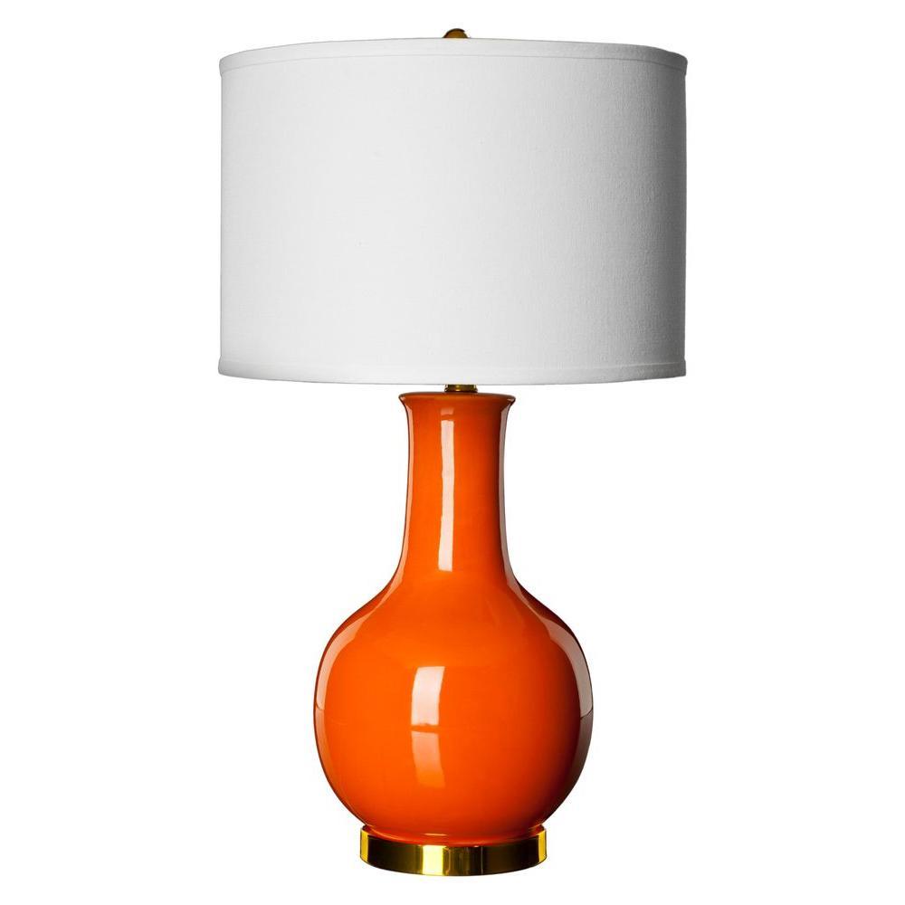 27.5 in. Orange Ceramic Paris Lamp with White Shade