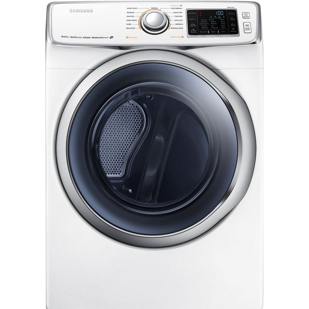 Samsung 7.5 cu. ft. Gas Dryer with Steam in White