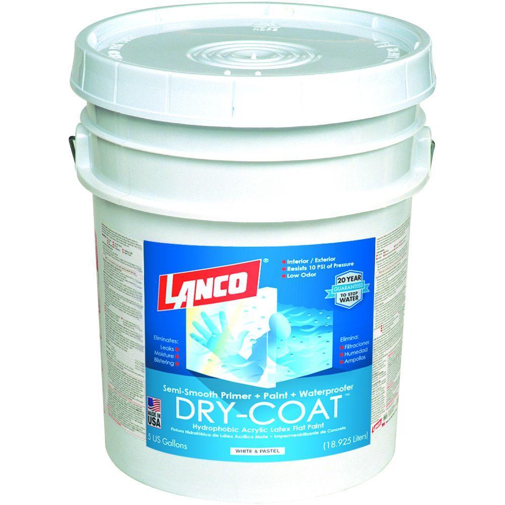 lanco dry coat 5 gal white and pastel flat acrylic latex