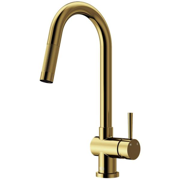 Gramercy Single-Handle Pull-Down Kitchen Faucet in Matte Gold