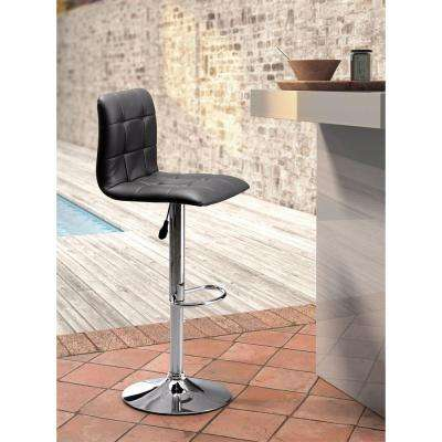 Oxygen Adjustable Height Black Cushioned Bar Stool