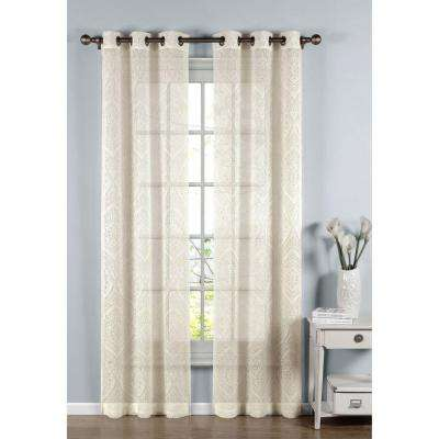Sheer Elena Cotton Blend Burnout Sheer 96 in. L Grommet Curtain Panel Pair, Ivory (Set of 2)