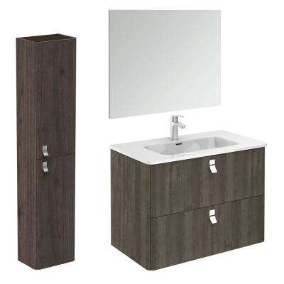 32 in. W x 18 in. D x 23 in. H Complete Bathroom Vanity Unit in Samara Ash with Mirror and Column