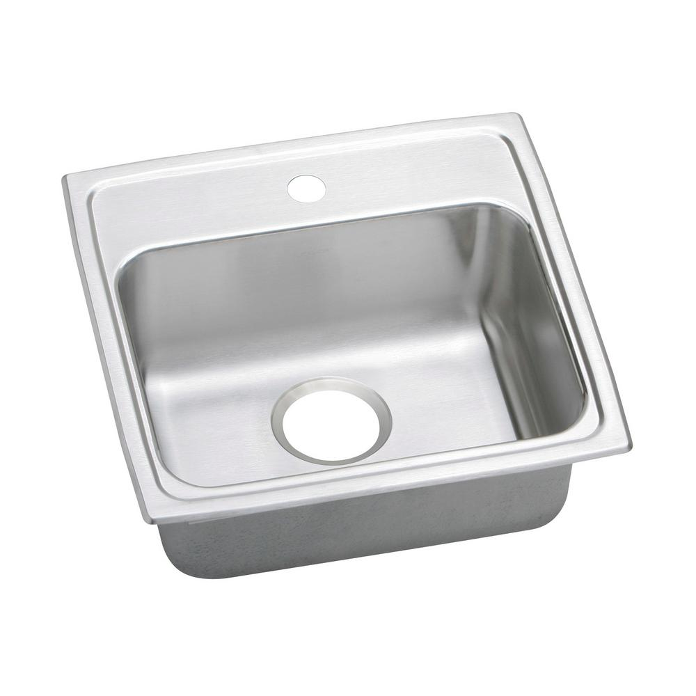 Lustertone Drop-In Stainless Steel 19 in. 1-Hole Single Bowl Kitchen Sink