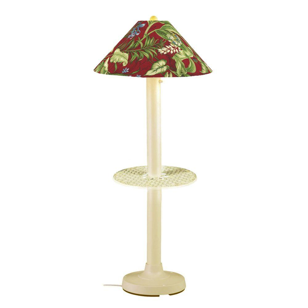 Patio Living Concepts Catalina 63.5 in. Bisque Outdoor Floor Lamp with Tray Table and Lacquer Shade