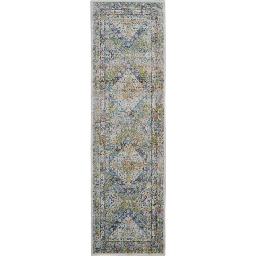 Nourison Global Vintage Blue And Green 2 Ft X 8 Ft Low Pile Hallway Runner Rug 458759 The Home Depot