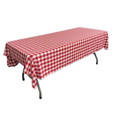 60 in. x 102 in. White and Red Polyester Gingham Checkered Rectangular Tablecloth