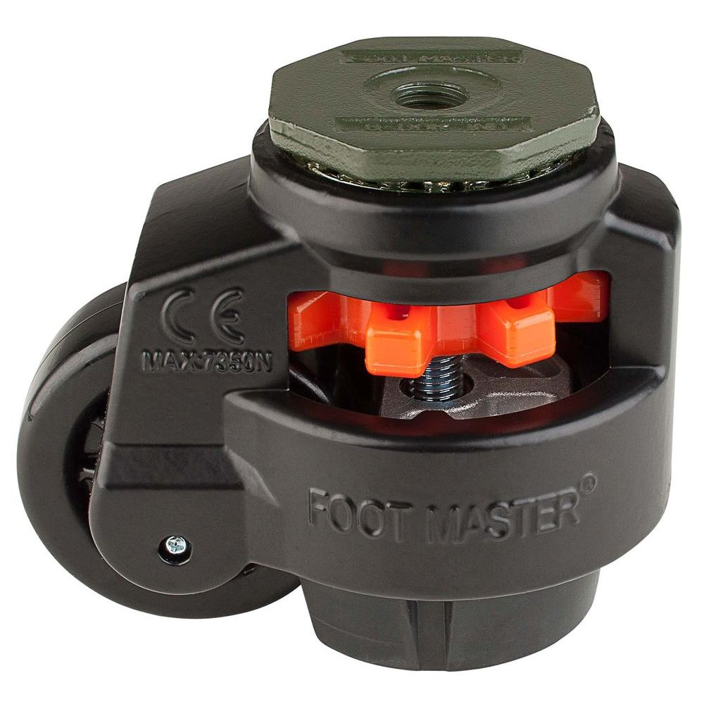 Foot Master 3 in. Nylon Wheel Metric Stem Leveling Caster with Load Rating 1650 lbs.