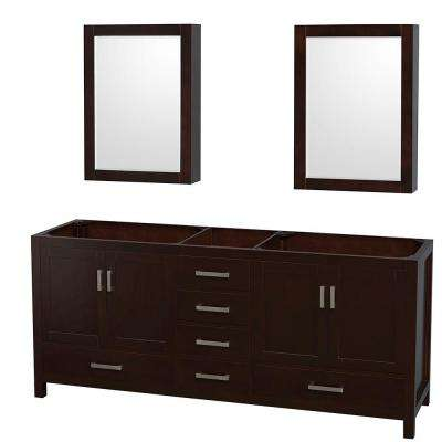 Sheffield 80 in. Double Vanity Cabinet with Medicine Cabinets and Mirror in Espresso