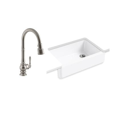 Whitehaven All-in-One Undermount Cast Iron 33 in. Kitchen Sink in White with Artifacts Faucet in Stainless Steel