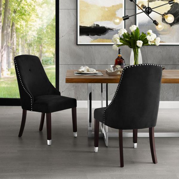 Cora Black/Silver Velvet Metal Tip Leg Dining Chair (Set of 2)