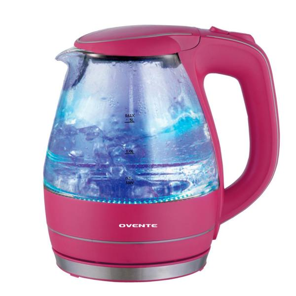 Ovente Illuminated 6.5-Cup Fushia Cordless Electric Kettle with Filter KG83F