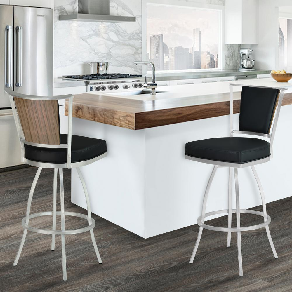 Nice Armen Living Delhi 30 In. Black Faux Leather And Brushed Stainless Steel  Finish Barstool