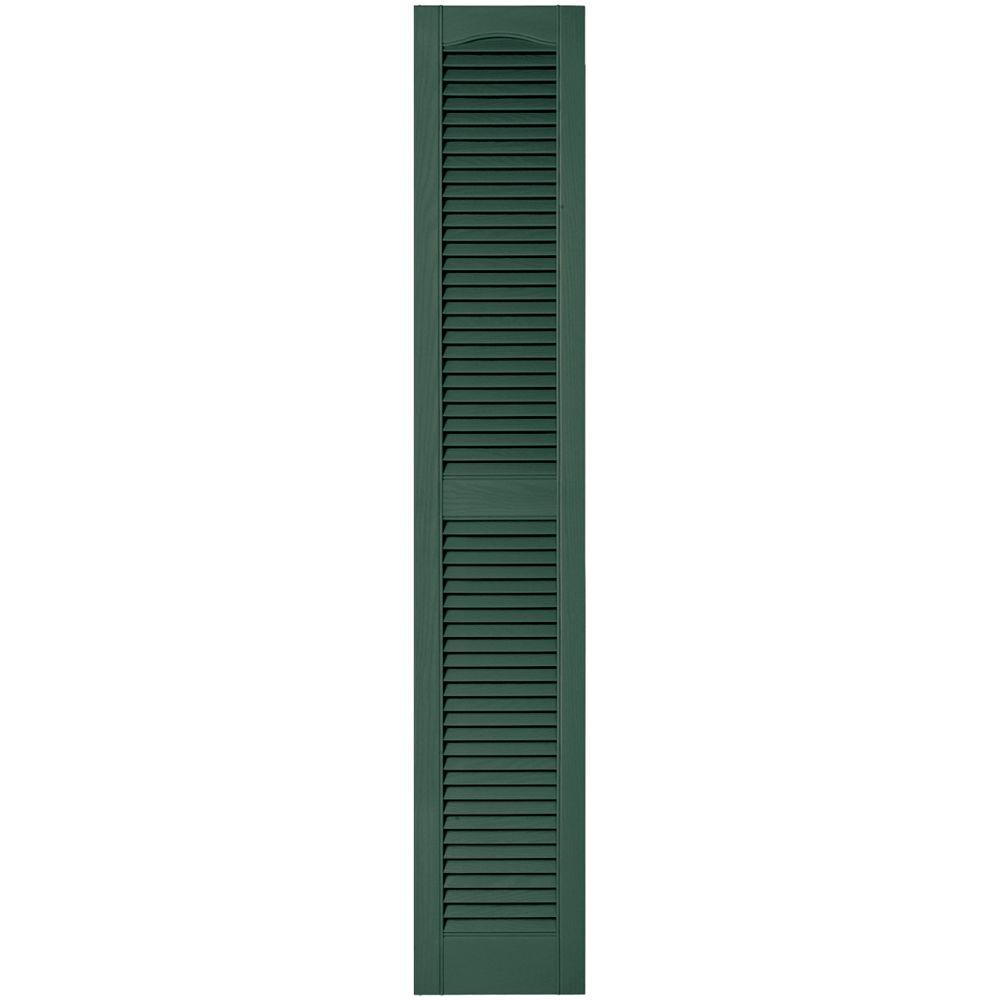 Builders Edge 12 in. x 67 in. Louvered Vinyl Exterior Shutters Pair in #028 Forest Green