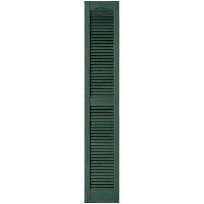 12 in. x 67 in. Louvered Vinyl Exterior Shutters Pair in #028 Forest Green