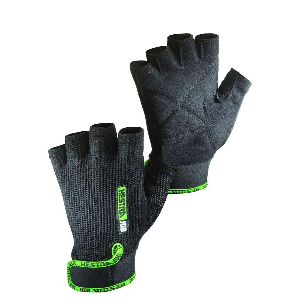 Hestra JOB Holm Size 9 Large Half Finger Padded Palm Breathable Mesh Fabric And VELCRO brand Cuff Glove in Black