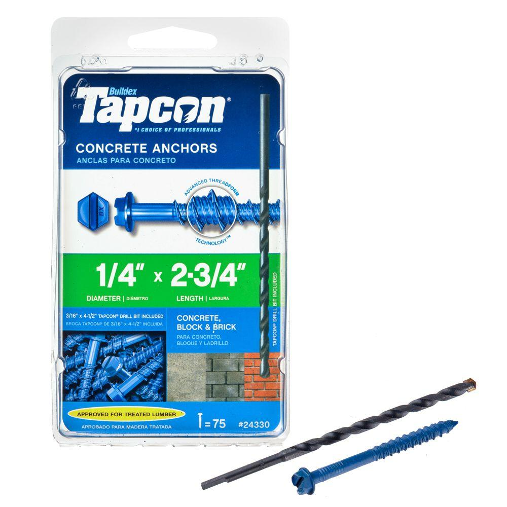 "150-Count 1//4/"" x 2-3//4/"" Tapcon 24530 Hex-Washer-Head Concrete Anchors"