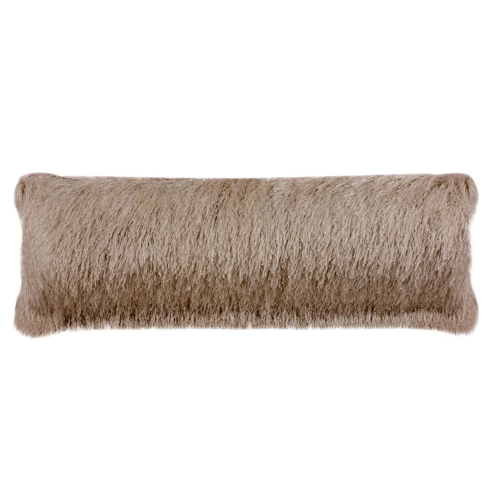 Soleil Champagne Lumbar Indoor/Outdoor Shag Throw Pillow