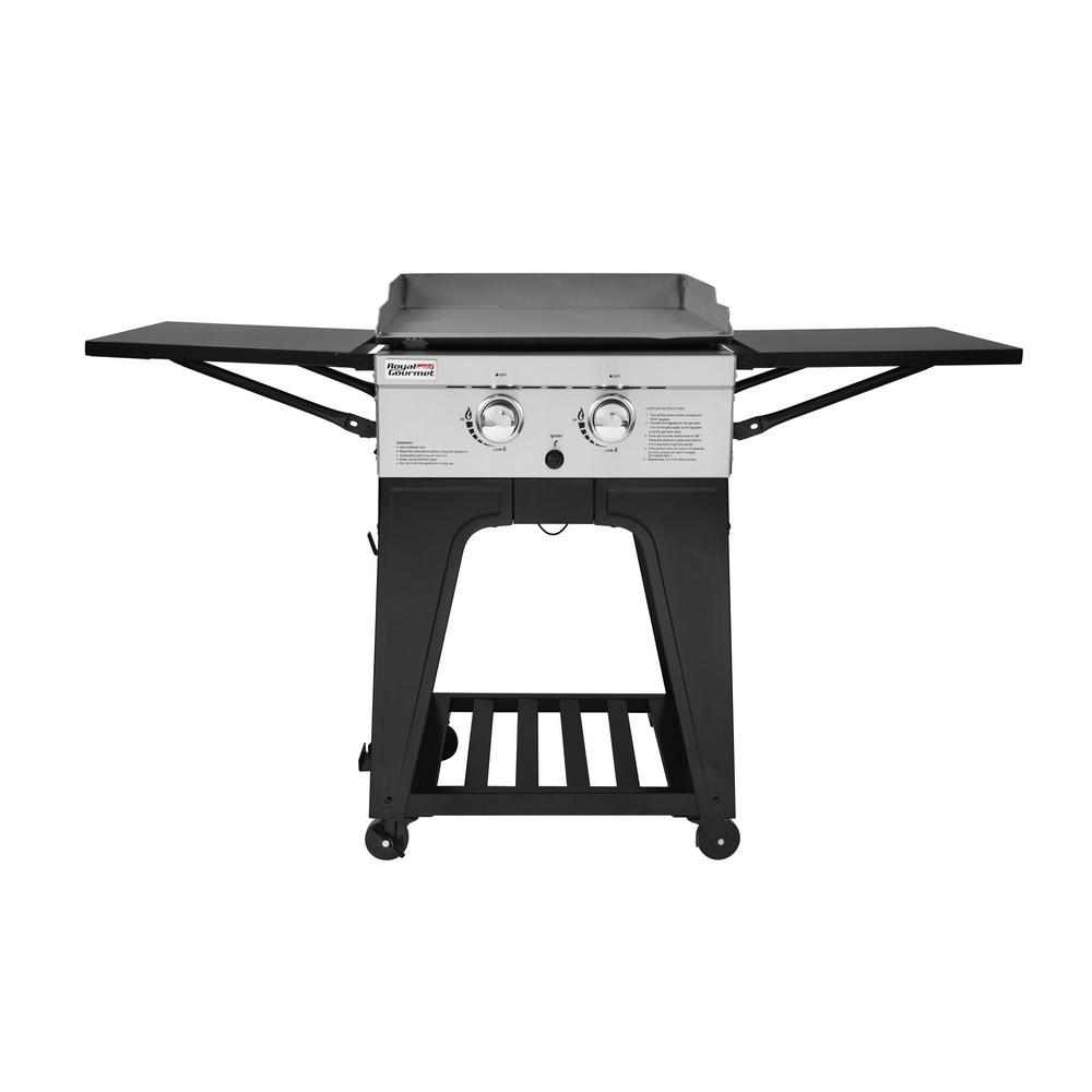 Royal Gourmet 2 Burner Propane Gas Grill Griddle with Folding Side Tables