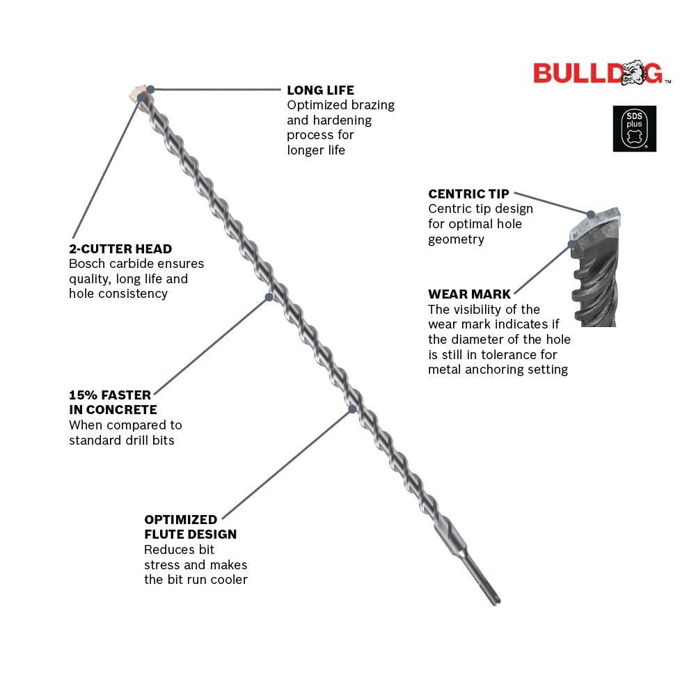 "QTY 25 Pack Bosch HC2011B25 3//16/"" x 4/"" x 6/"" SDS-Plus Bulldog concrete drill bit"