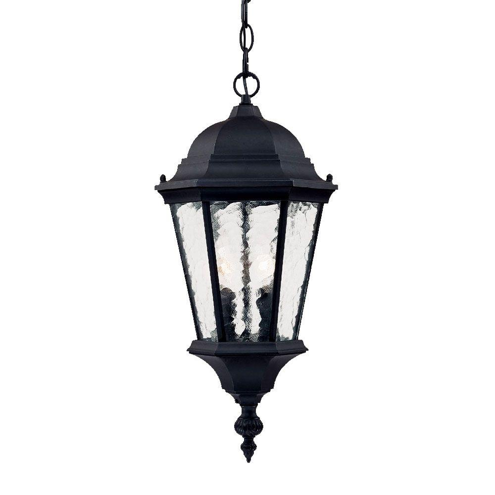 Telfair Collection 2-Light Matte Black Outdoor Hanging Light Fixture