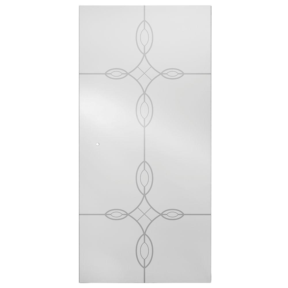 36 in. Semi-Frameless Pivot Shower Door Glass Panel in Tranquility
