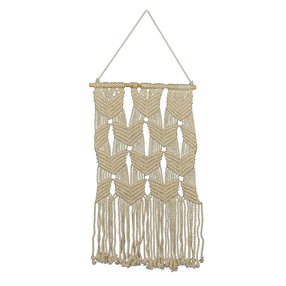 9977ac3d6f895 Fetco Mayco Whites and Off-Whites Beaded Macrame Wall Hanging-X78260A - The  Home Depot