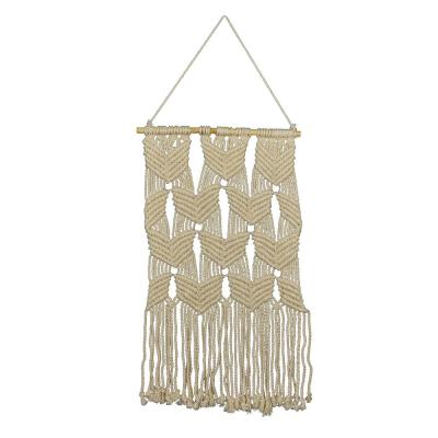 Mayco Whites and Off-Whites Beaded Macrame Wall Hanging