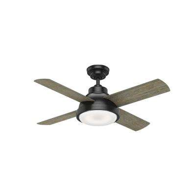 Levitt 44 in. LED Indoor Matte Black Ceiling Fan with Light Kit and Handheld Remote