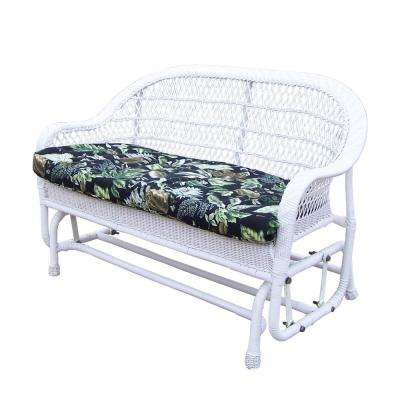 Coventry White Wicker Outdoor Glider With Black Floral Cushion