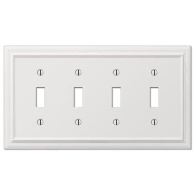 Continental 4 Gang Toggle Metal Wall Plate - White