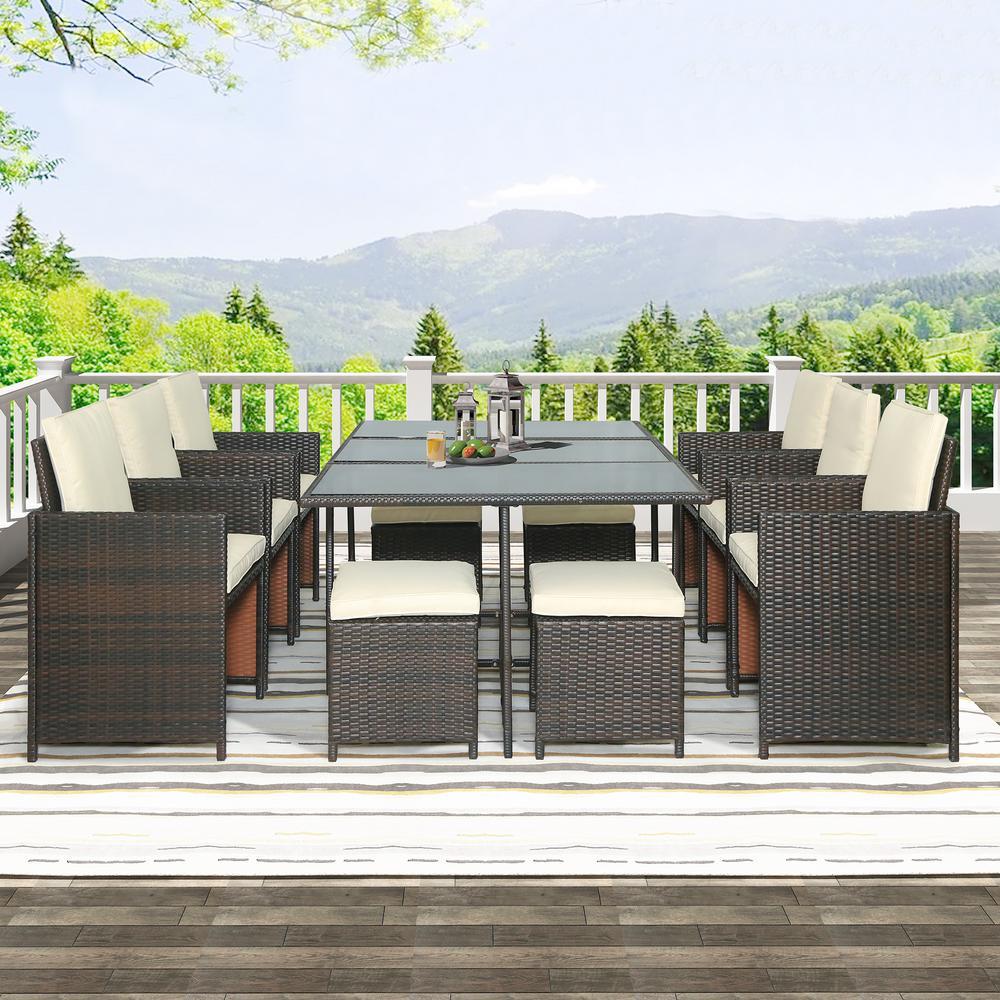 Harper & Bright Designs Brown 11-Piece Wicker Outdoor Dining Set with Beige Cushions