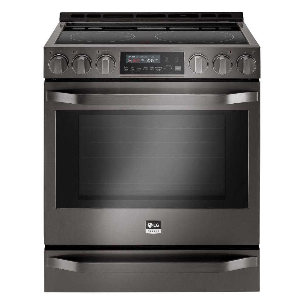 6.3 cu. ft. Slide-In Electric Range with Warming Drawer in Black