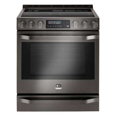 6.3 cu. ft. Slide-In Electric Range with Warming Drawer in Black Stainless Steel