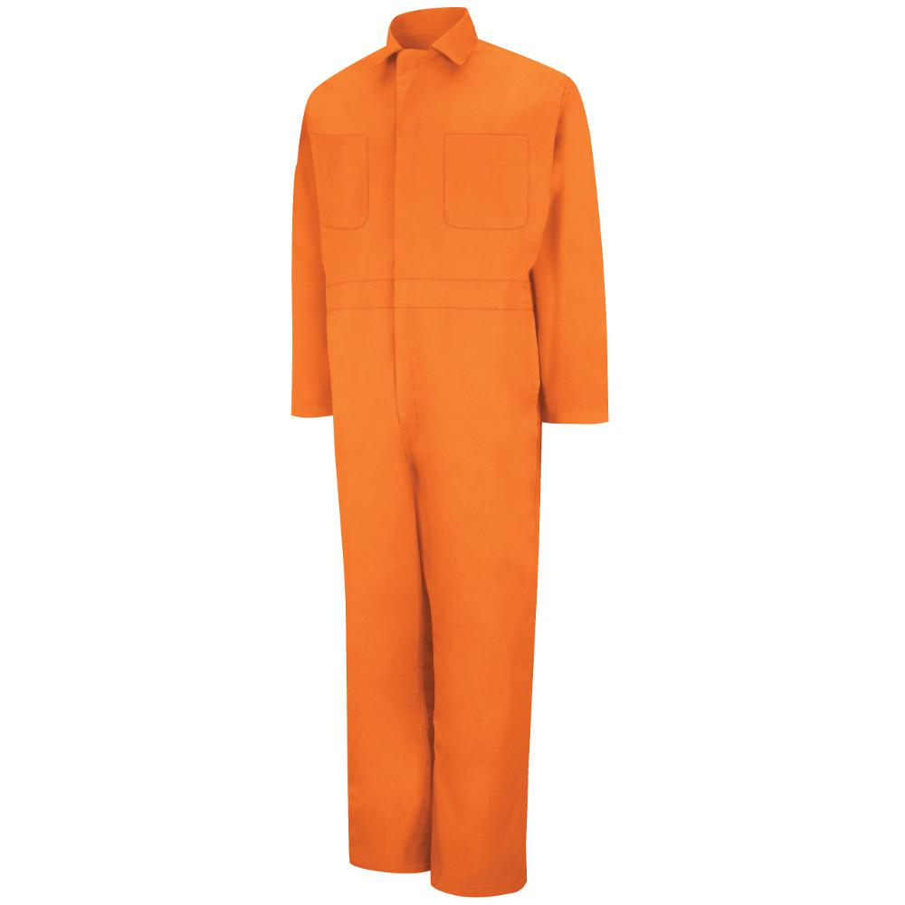 Men's Size 42 (Tall) Orange Twill Action Back Coverall