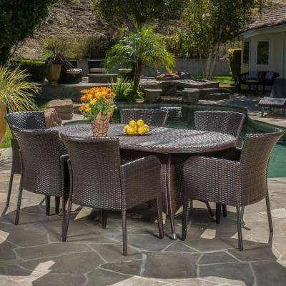 Corsica Multi-Brown 7-Piece Wicker Outdoor Dining Set