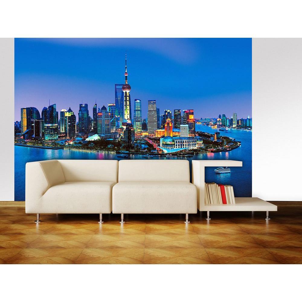 Ideal Decor 100 in. x 144 in. Shanghai Skyline Wall Mural