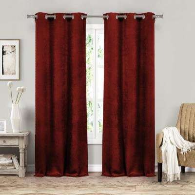 Sera 37 in. W x 84 in. L Polyester Window Panel in Garnet