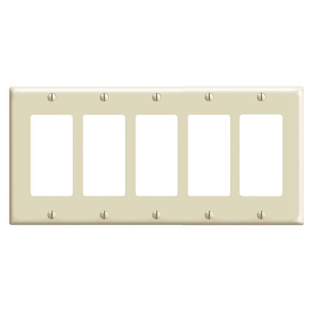 Leviton 5 Gang Decora Switch Wall Plate Ivory