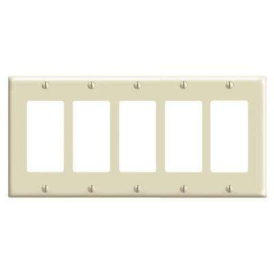 5-Gang Decora Switch Wall Plate, Ivory