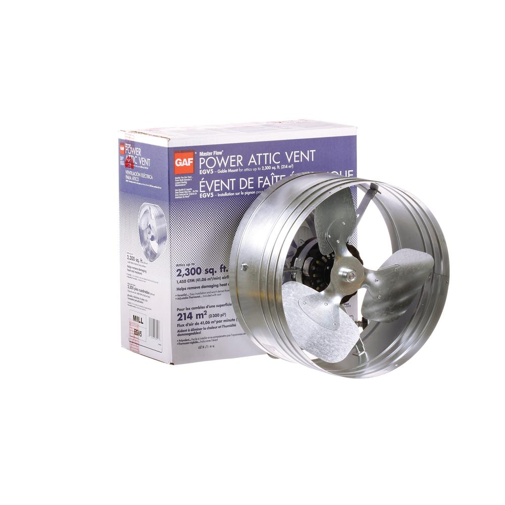 Power Gable Mount Attic Fan Flow 1450 Cfm Adjustable