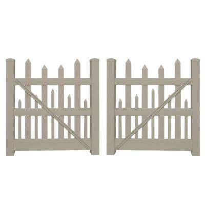 Salem 8 ft. W x 5 ft. H Khaki Vinyl Picket Fence Double Gate