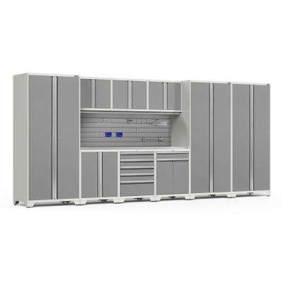 Pro Series 3.0 85.25 in. H x 192 in. W x 24 in. D 18-Gauge Steel Cabinet Set in Platinum (10-Piece)