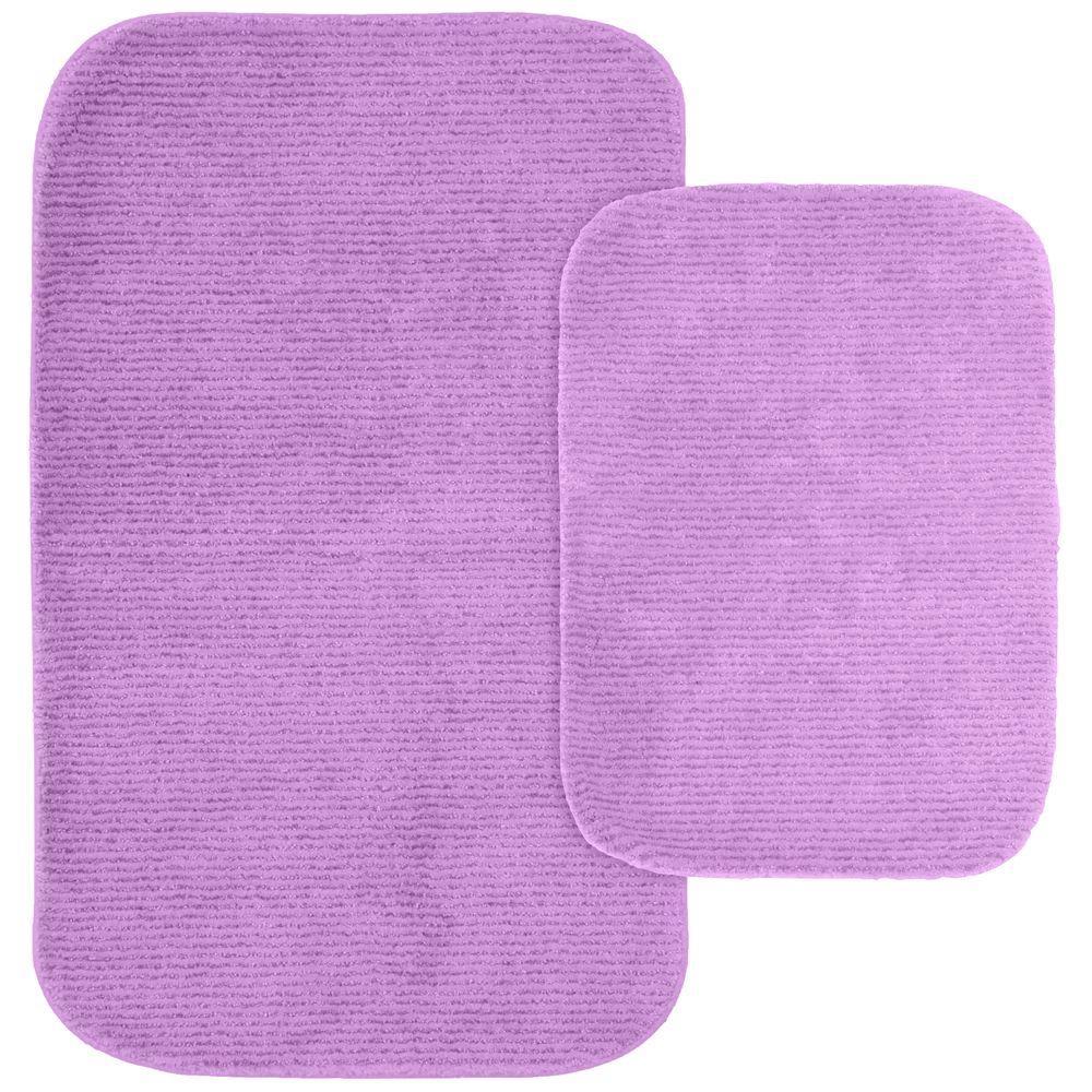 Glamor Purple 21 in. x 34 in. Washable Bathroom 2-Piece Rug Set