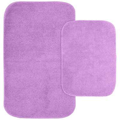 Glamor Purple 21 in. x 34 in. Washable Bathroom 2-Piece Rug Set