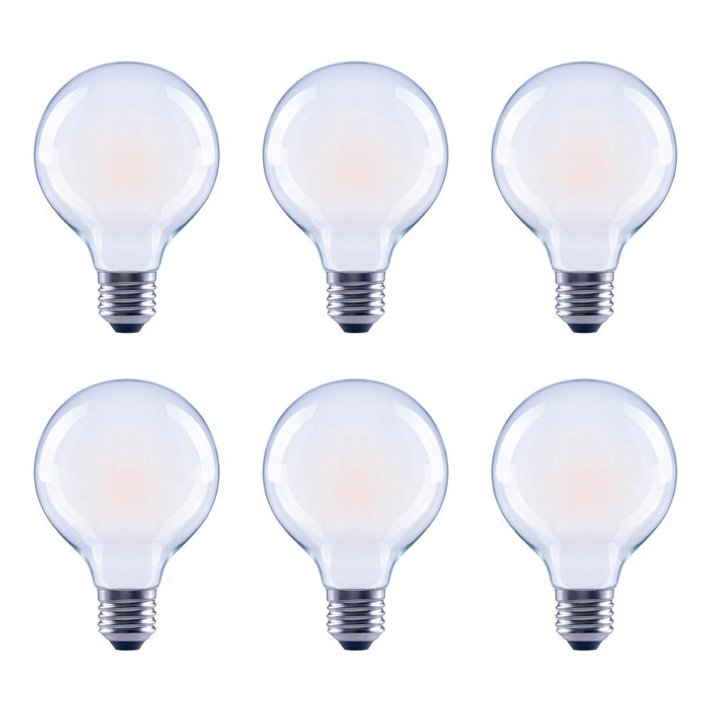60-Watt Equivalent G25 Globe Vanity Frosted Glass Vintage Edison Filament Dimmable LED Light Bulb Soft White (6-Pack)