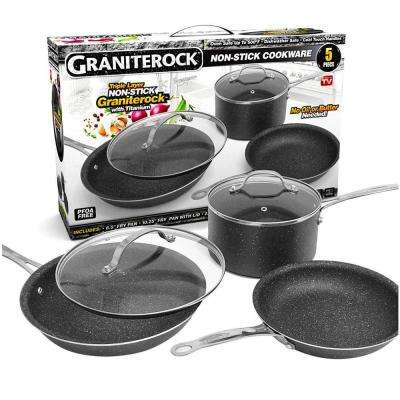 5 Piece Non-Stick Pressed Aluminum Triple Coated Cookware with Lids